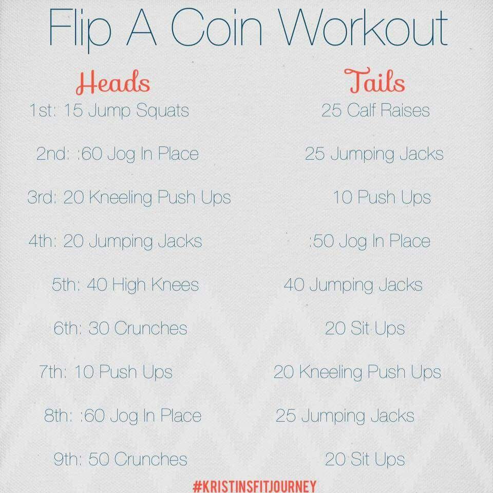 Coin flip workout | workouts | Workout, Card workout, Fun