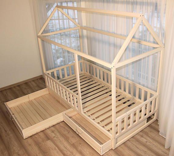 Bemaltes Kinderbett Kinderbett Montessori Bett Garten Herbst