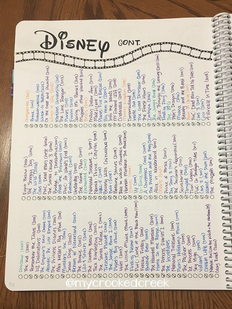 A Look Through My Bullet Journal (so far) #disneymovies