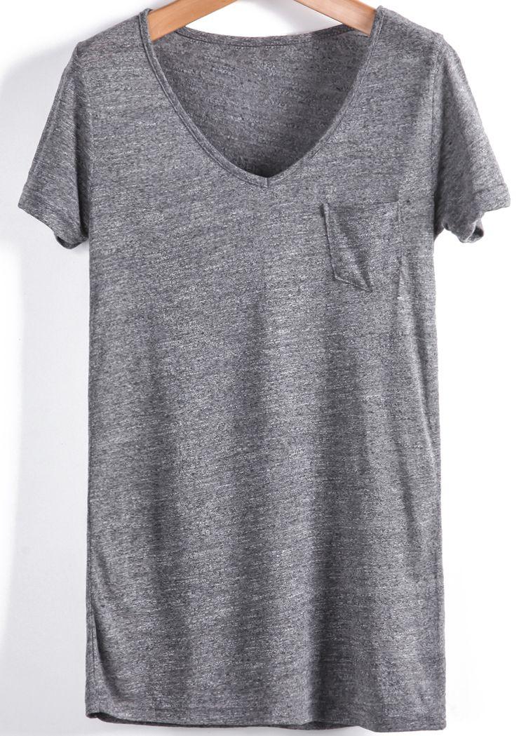 c9ce7c2d586 Grey V Neck Short Sleeve Pocket Loose T-Shirt - Sheinside.com ...