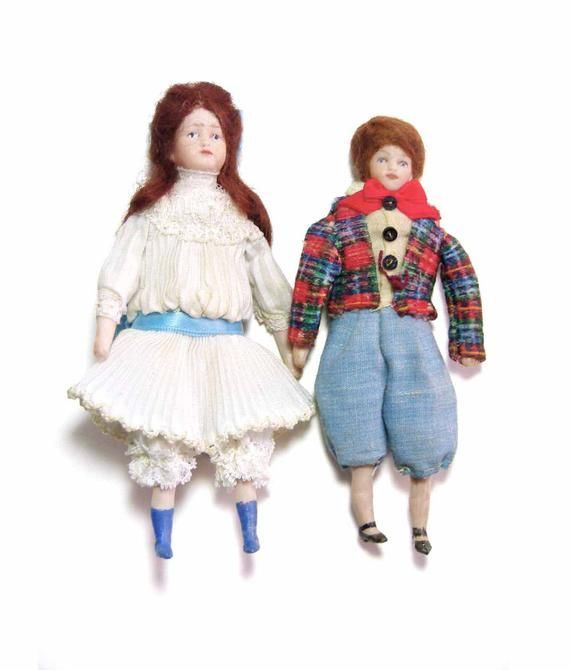 Vintage Artisan Made Victorian Dollhouse Porcelain Miniatures Boy & Girl 1:12 Scale Dolls Miniatures Hand Painted Features #victoriandollhouse