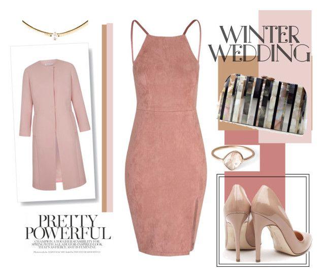 """True Romance: #WinterWedding ❄️"" by ashleeyneeo ❤ liked on Polyvore featuring Rupert Sanderson, Serpui, Parisi, blush and winterwedding"