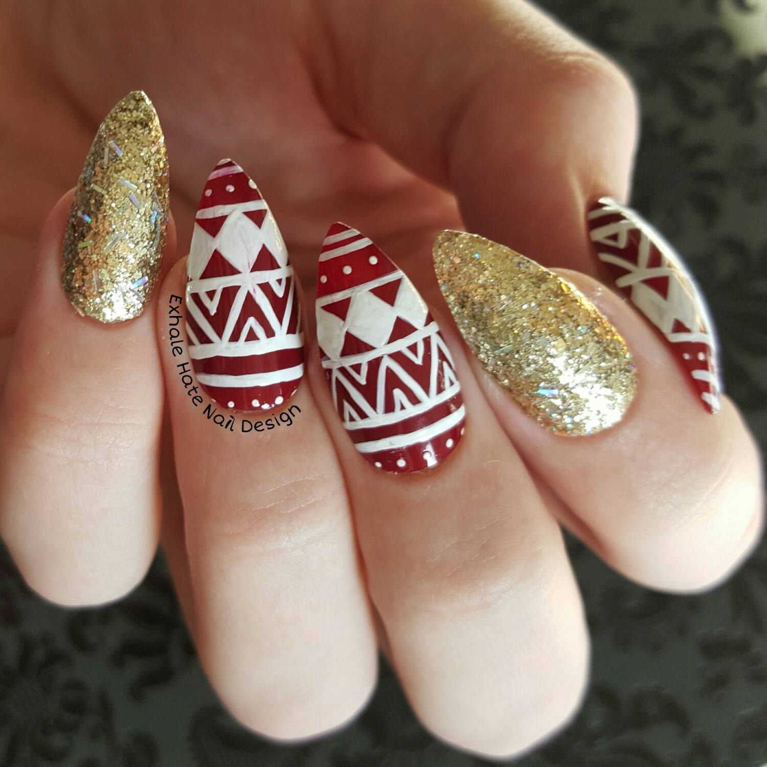 Christmas Nails Designs Coffin: Christmas Holiday Glitter Sweater Fake Press On Nails