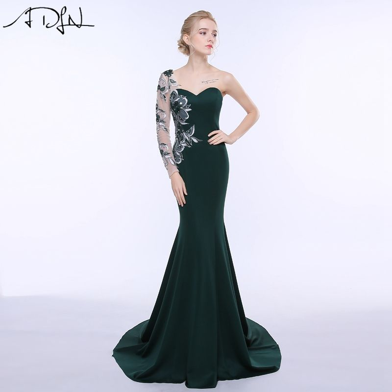 ADLN Stock Long Evening Dresses Mermaid Long Sleeves Embroidery Party Gown Customized vestidos de fiesta