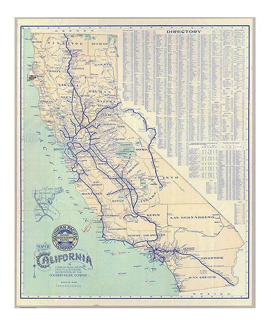 Vintage 1901 Southern Pacific Co California Map WallpaperCalifornia