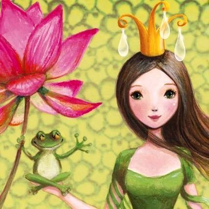 Girl and frog artist Illustration by www.MilaMarquis.com and www.Facebook.com/MilaMarquisillustration