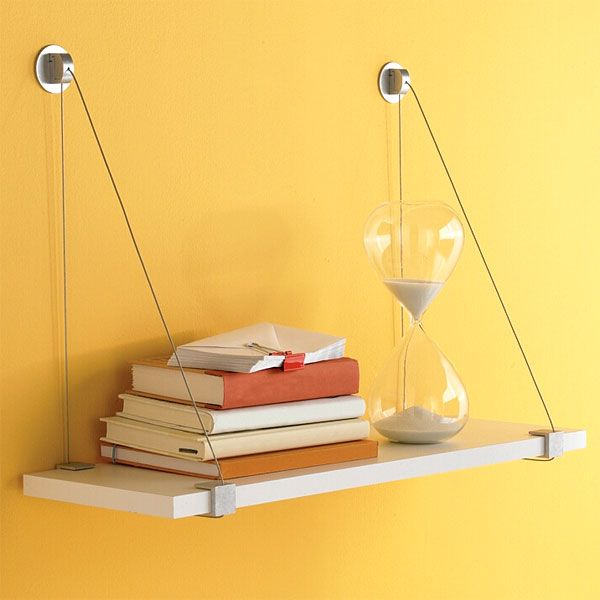 Cable Brackets with White Melamine Wall Shelf