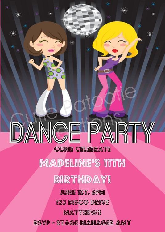 Disco Dancers Diva Glamour Girls Birthday Party Invitation – Diva Party Invitations
