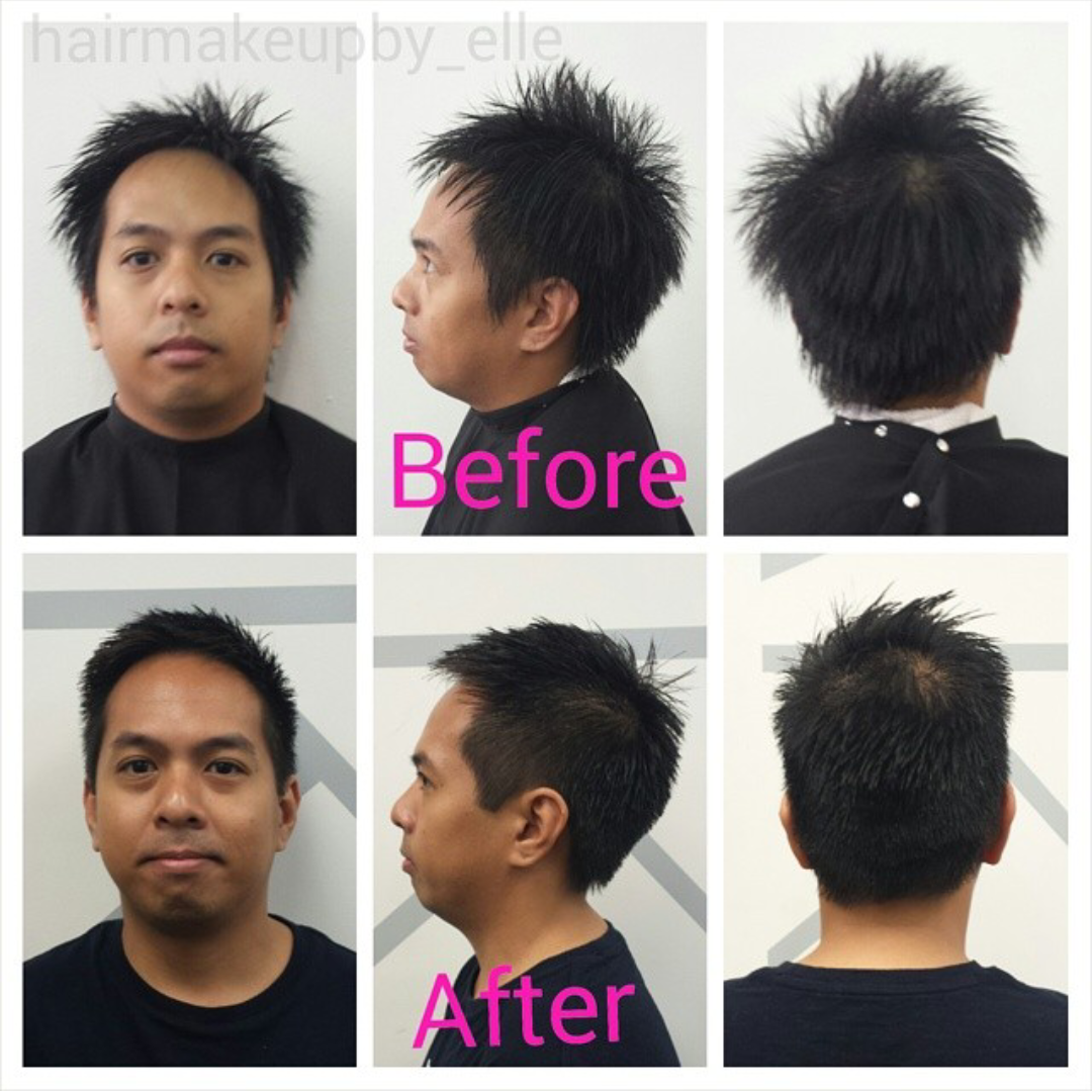 Gents Before & After haircut #hairmakeupby_elle at JoLsalon - point loma - san diego - liberty station - balayage - highlights - makeup - bridal - wedding - bridesmaids - updo - up-do - mua - sdmua - muasd - hmua - makeup artist - hairstylist - blowdry bar - color - sd - ombre - blonde - brunette - longhair - short - rooty blonde - eyebrows brows - bar - beauty - waxing - mens - womens - grooming - before - after - asian   www.jolsalon.com T619.501.4469