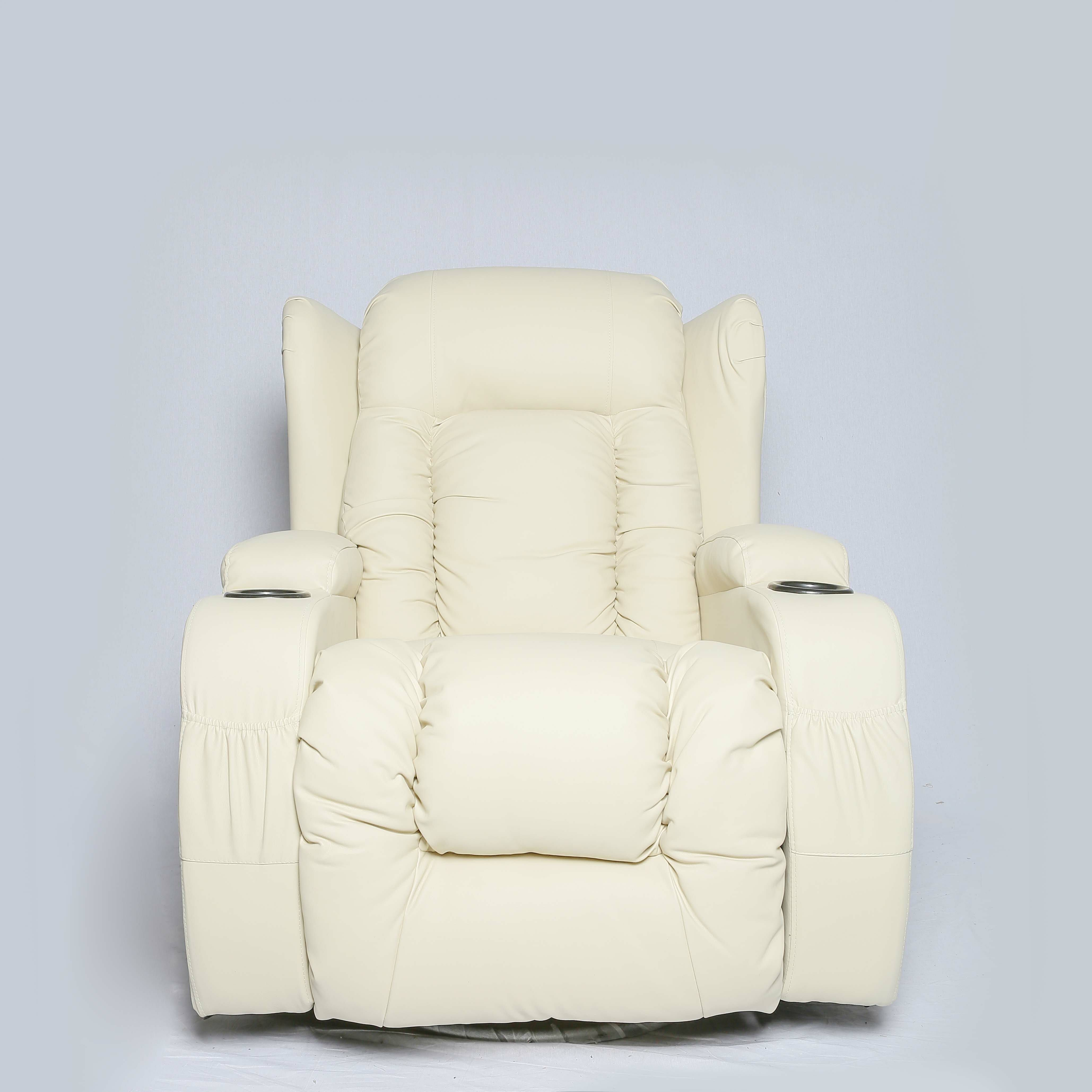 Caesar Cream Faux Leather Recliner/Gaming Chair (With
