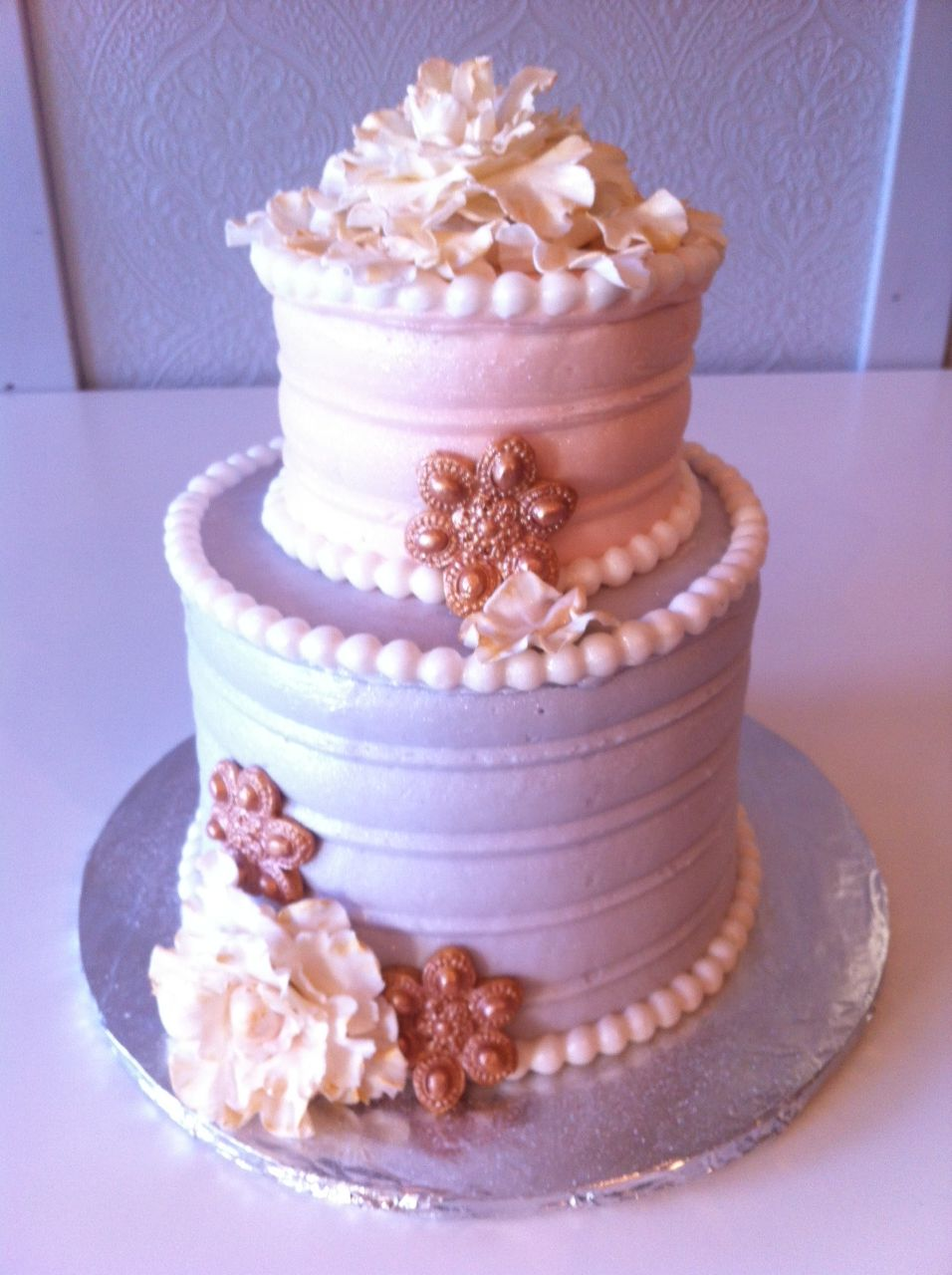 Light Pink And Purple 2 Layer Cake In Butter Cream, Fondant Pearls And Gum-paste Flower. Hand ...