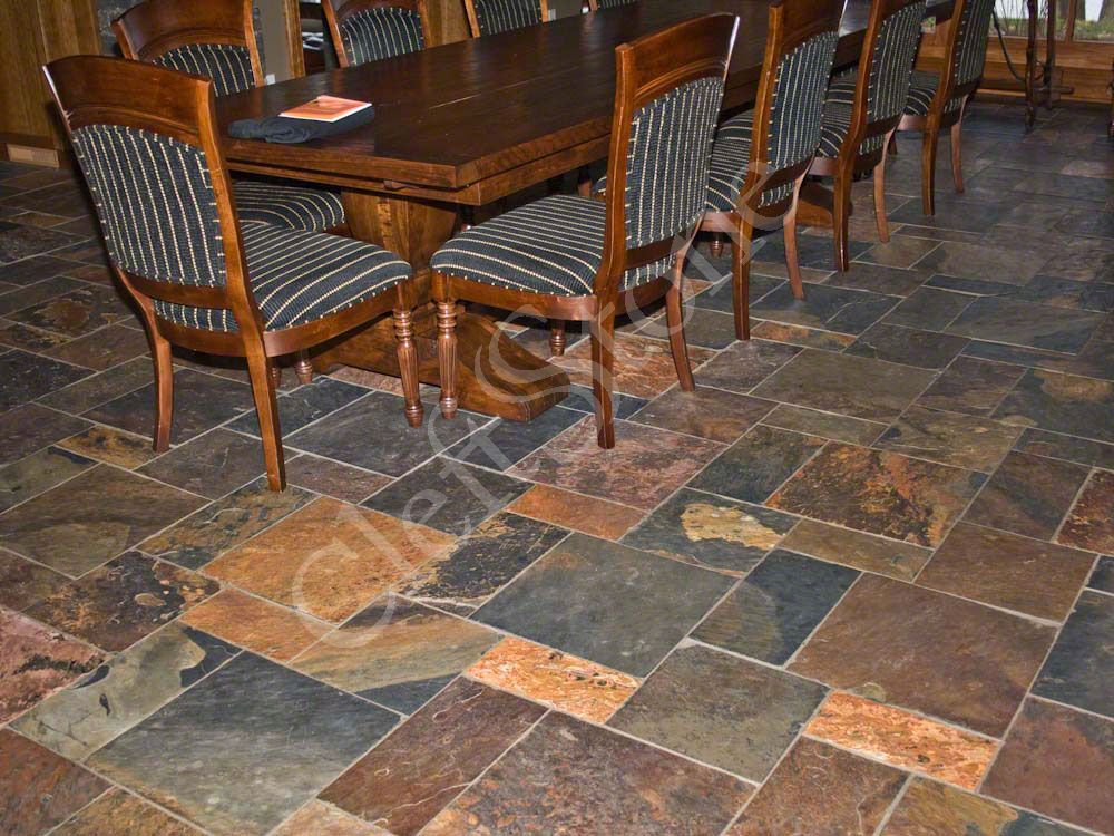 copper rust slate tile floor - Google Search   Kitchen ...