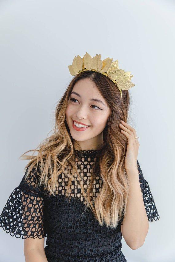 Gold leather leaf crown Fascinator // Metallic gold leaf crown headband / leather fascinator / leather races fascinator headpiece #crownheadband