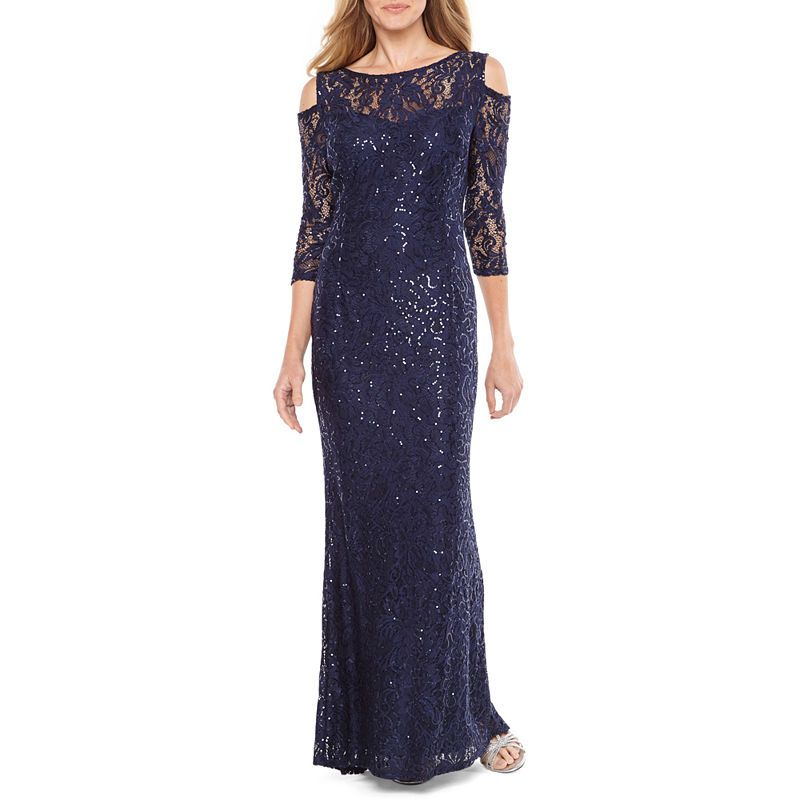 60c157954c33 Blu Sage 3/4 Sleeve Cold Shoulder Sequin Lace Evening Gown ...
