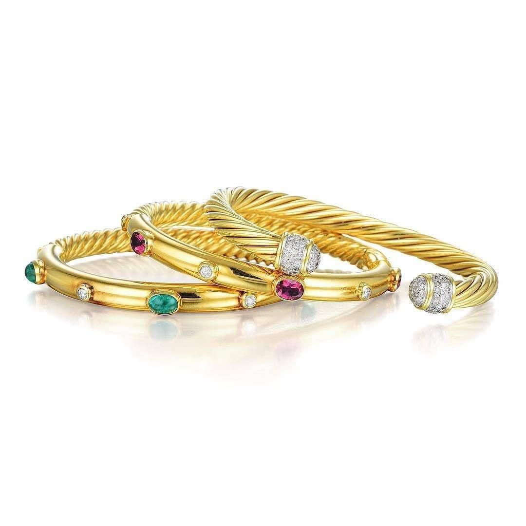 Courtesy fortunaauction david yurman diamond and gemstone bangle