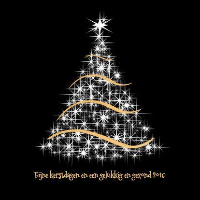 fijne kerst 2020 Kerstkaart wit en goud op zwart   Kerstkaarten   Kaartje2go
