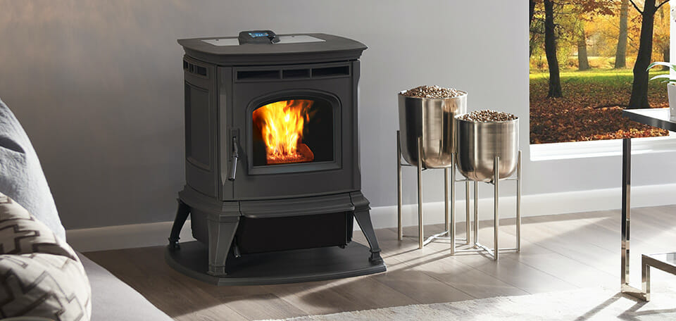 The Harman Absolute43 Is The Smartest Pellet Stove Ever Made Compact And Powerful With The Quietest Pellet Stove Operation In Wood Stove Pellet Stove Design