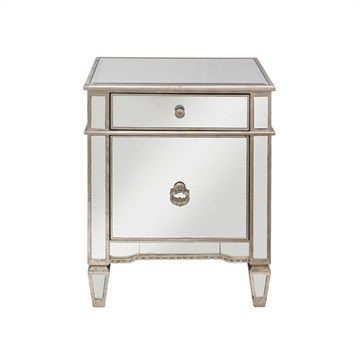 Cassidy Mirrored 1 Door 1 Drawer Bedside Table Bedside Table Design Bedside Table Bedside Table Contemporary