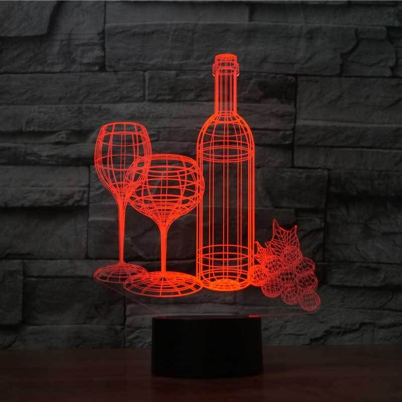 Wine 3d Optical Led Illusion Lamp Lampeez 3d Illusion Lamp Night Light Lamp 3d Led Lamp
