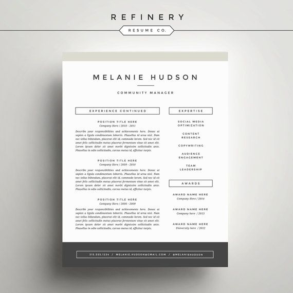 Modern Resume Template And Cover Letter By Refineryresumeco  For