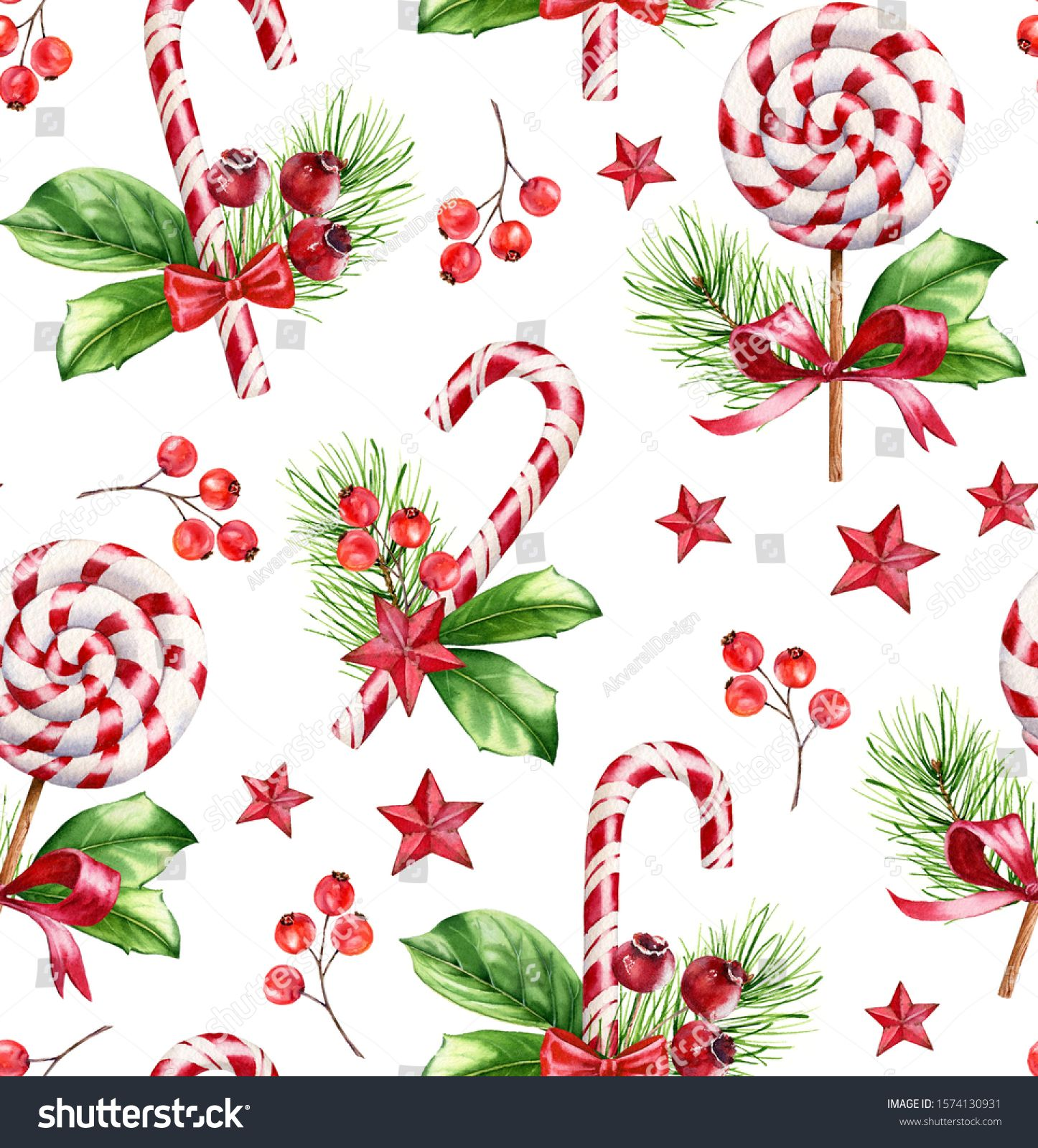 Watercolor Christmas Seamless Pattern Hand Painted