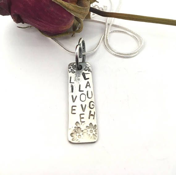 Handmade sterling silver live love laugh necklace sterling silver handmade sterling silver live love laugh necklace sterling silver pendant womans necklace sterling silver necklace bestfriend gift aloadofball Gallery