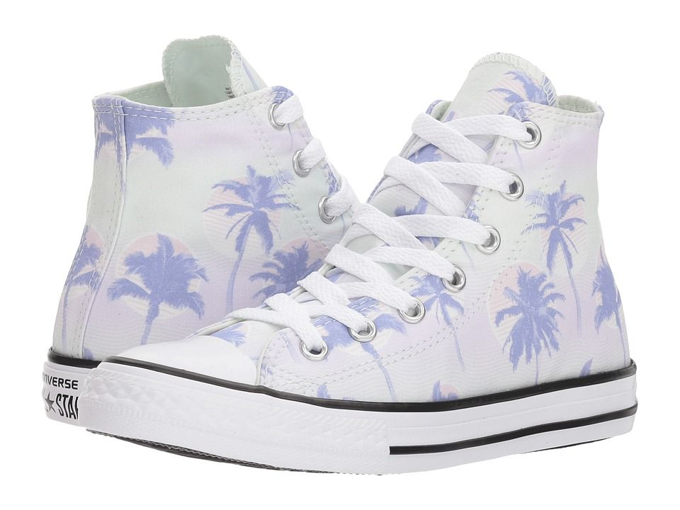 Converse Kids Chuck Taylor All Star Palm Trees Hi (Little Kid Big Kid) Girls  Shoes Barely Green Twilight Pulse White 1480a3b39