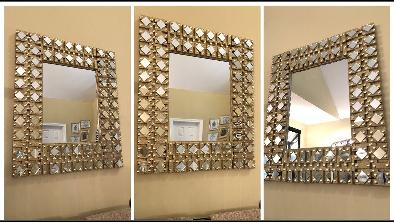 Dollar Tree Diy Gold Glam Wall Mirror Youtube Wall Mirror Diy Gold Diy Diy Mirror Decor