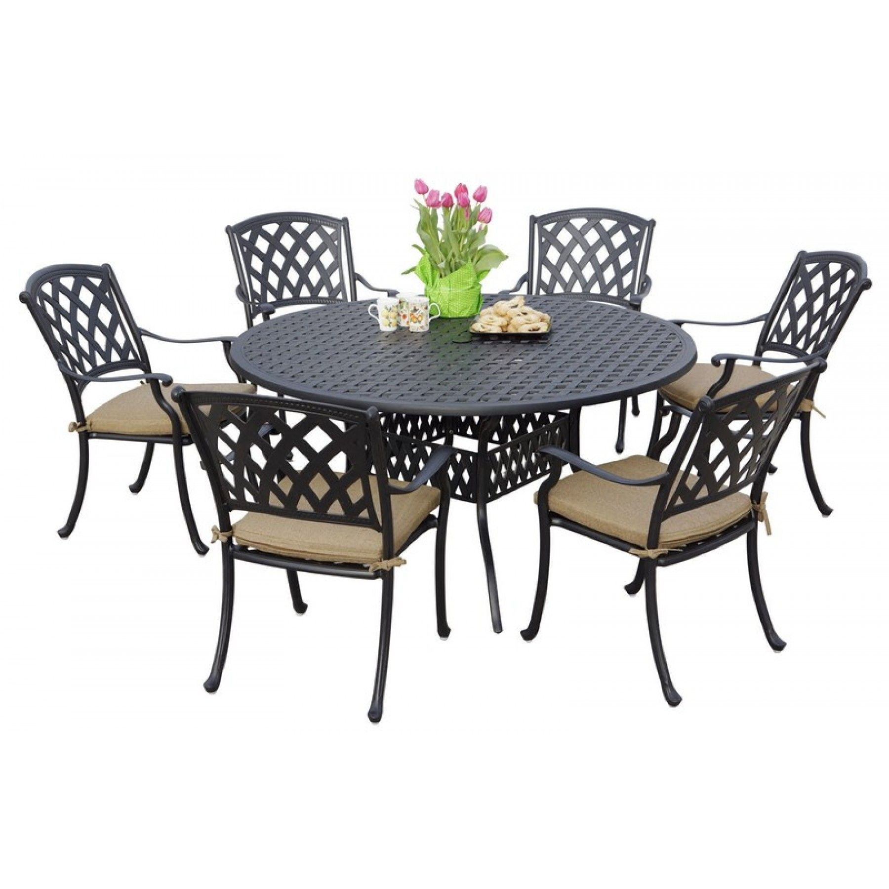 Ocean View Cast Aluminum 7Piece Dining Set With Cushions Round Amusing 7 Piece Round Dining Room Set Design Decoration