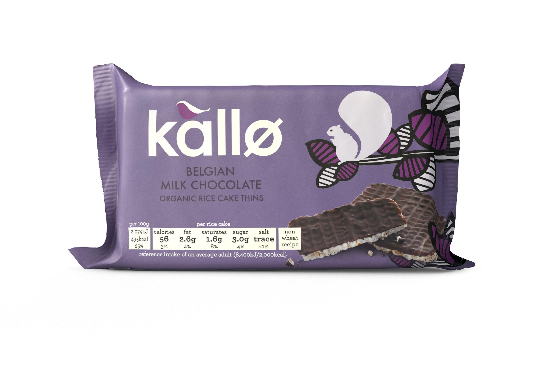 Kallo organic belgian milk chocolate rice cake thins