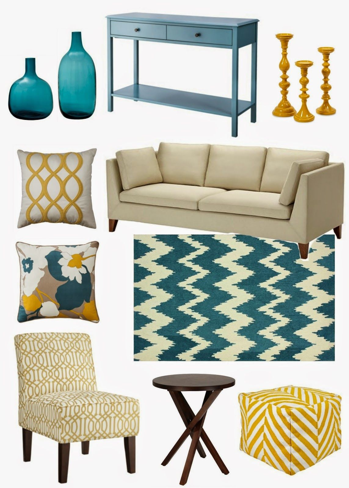 Decorating cents yellow and teal home ideas pinterest for Turquoise and mustard living room