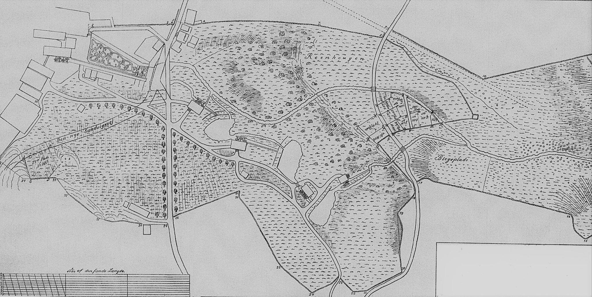 kart over gårdsnummer og bruksnummer Kilde/kart: Jan Ivar Sletteng. Sandviken. På kartets høyre side  kart over gårdsnummer og bruksnummer