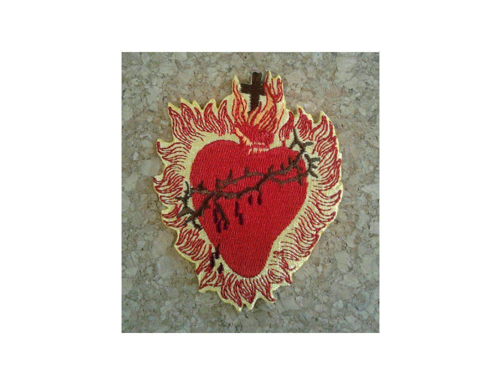 Sacred heart jesus church catholic christian embroidered