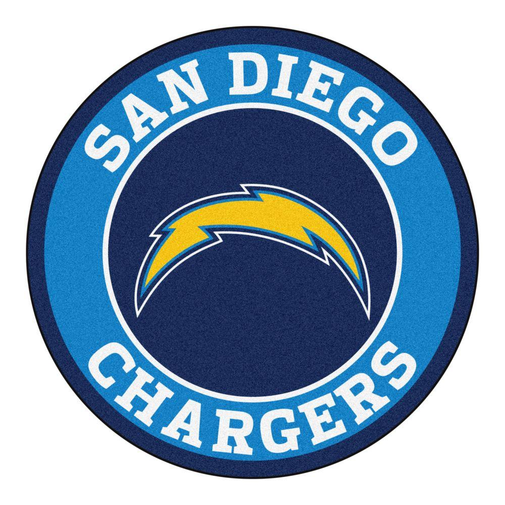 Nfl San Diego Chargers Blue 2 Ft 3 In X 2 Ft 3 In Round Accent Rug San Diego Chargers Chargers Nfl Los Angeles Chargers