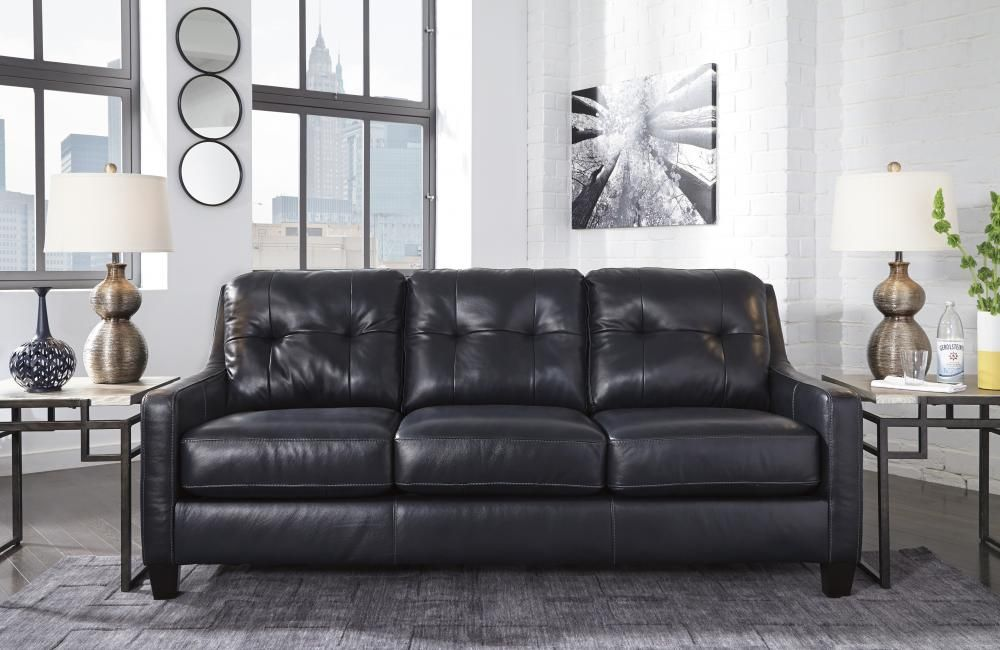 Best Leather Navy Blue Sofa By Ashley Home Furniture 400 x 300