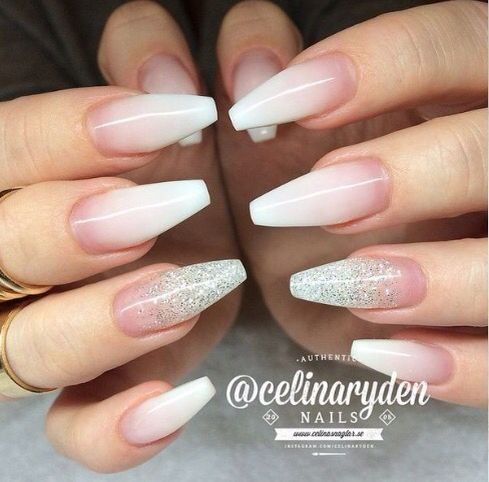 White Ombre Nails With Shimmer Ballerinanails Nailed It