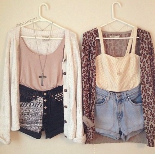 High waisted shorts w/ crop top or tank, long necklace and cardi