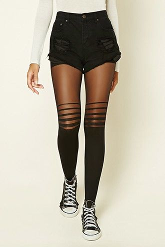 651125832d52a Striped Panel Tights | Tights /stockings /socks/collant | Shorts ...