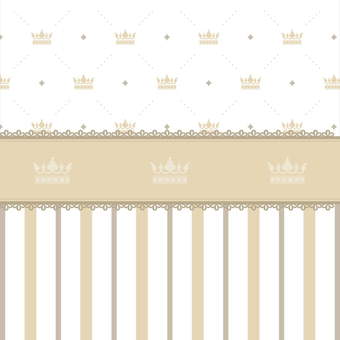 Papel de parede listras com coroa e faixa decorativa em - Papel de pared infantil ...