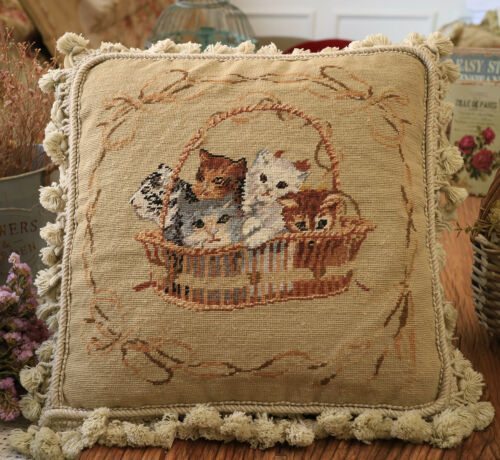 """Details about 14"""" Shabby Chic Hand Woven Cute Kitties"""