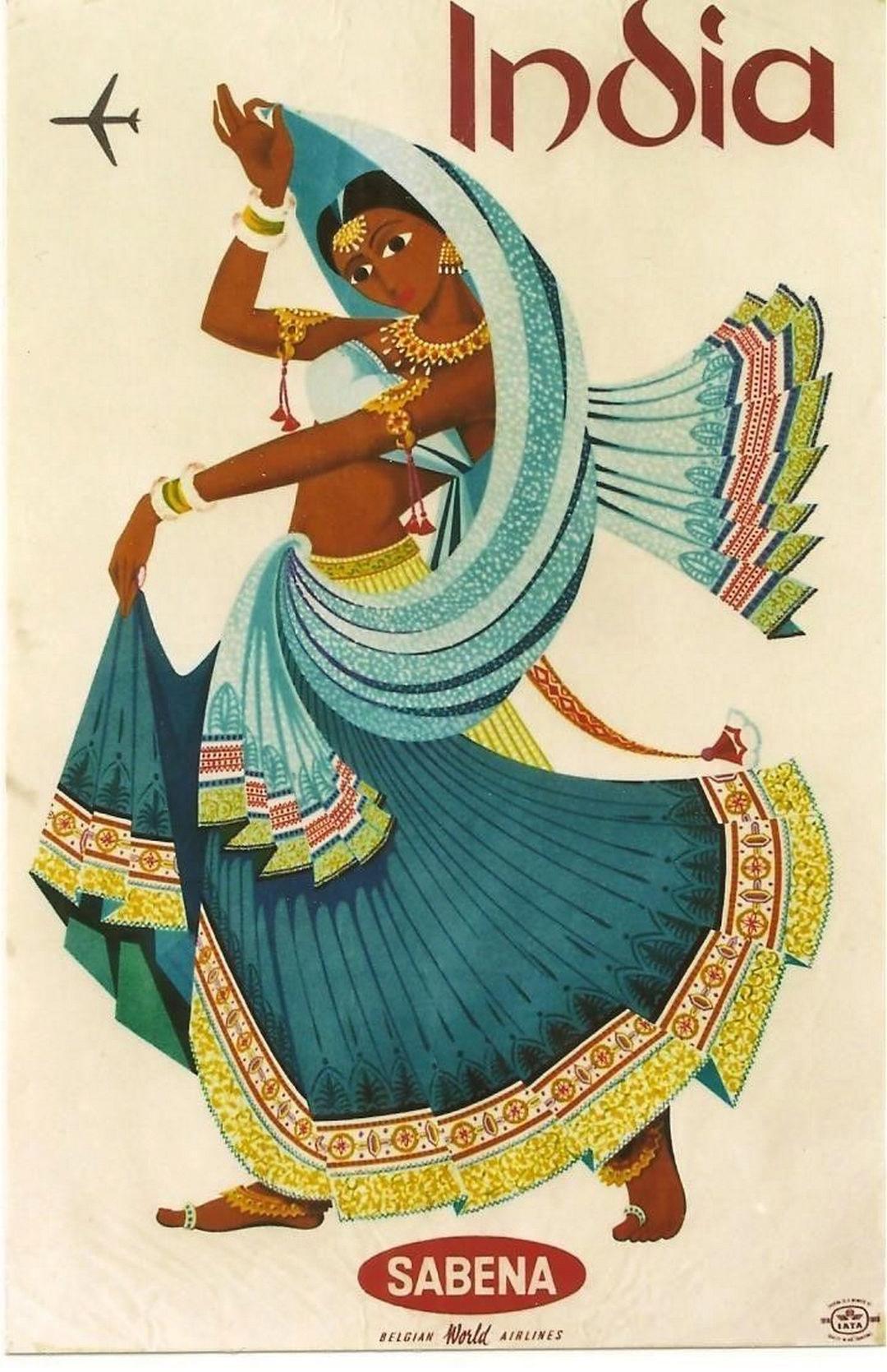 Old Rajasthan in miniatura dipinto indiano cartolina di una donna indiana NO1