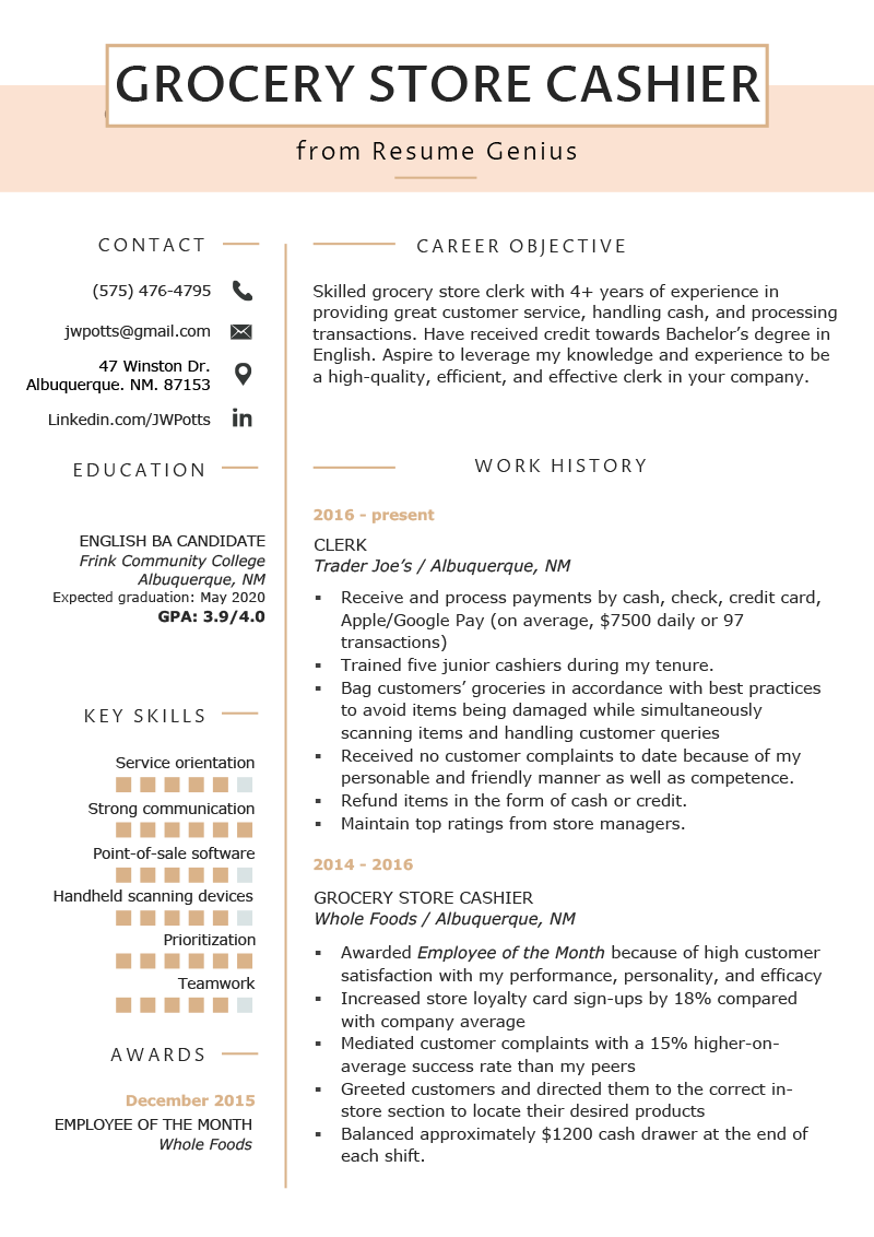 Grocery Store Cashier Resume Example & Tips Resume