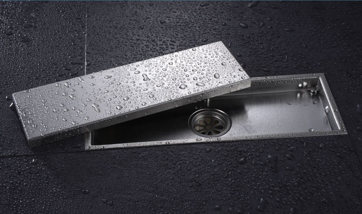 Linear Shower Drain With Tile Insert Grate Made Of Sus304 Stainless Steel 12 Inch Long Invisible Look Or Flat Cover Br Shower Drain Floor Drains Shower