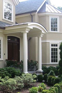 Portico And Curved Front Door The Round Shape May Help Add