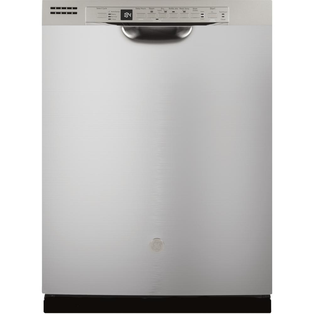 Ge 24 In Stainless Steel Front Control Built In Tall Tub Dishwasher 120 Volt With 3rd Rack Steam Cleaning And 50 Dba Gdf640hsmss The Home Depot Built In Dishwasher Ge Dishwasher Steel Tub