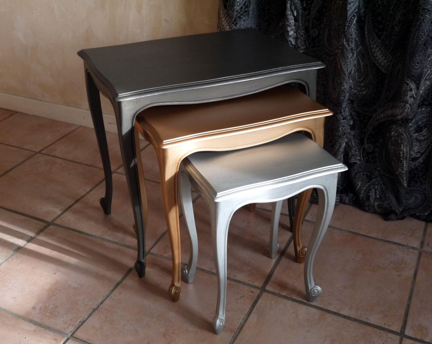 Tables Gigognes Rectangulaires En Bois Peint Furniture Upcycle