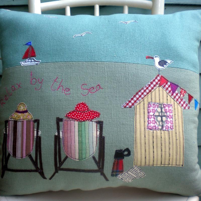 Beach Hut Machine Embroidery Design: Beach Hut Cushion, £45 From Www.coastalhome.co.uk