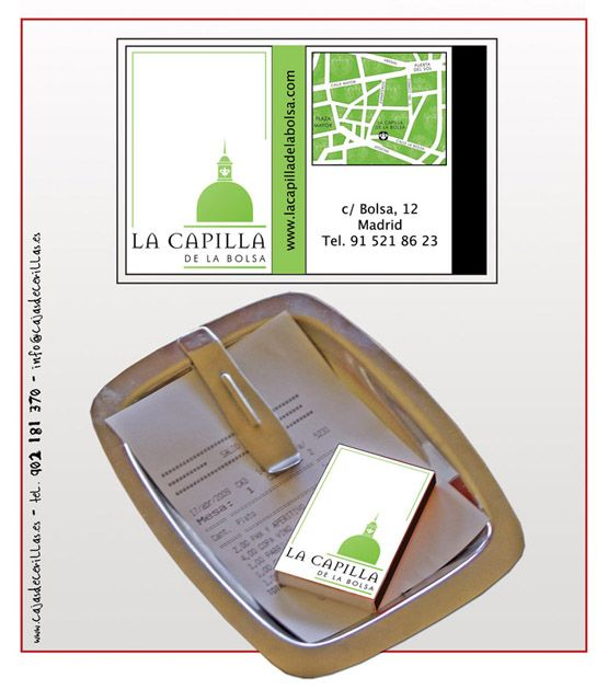 """Propuesta diseño cajas de cerillas modelo """"Café"""" para el restaurante La Capilla de la Bolsa en Madrid."""