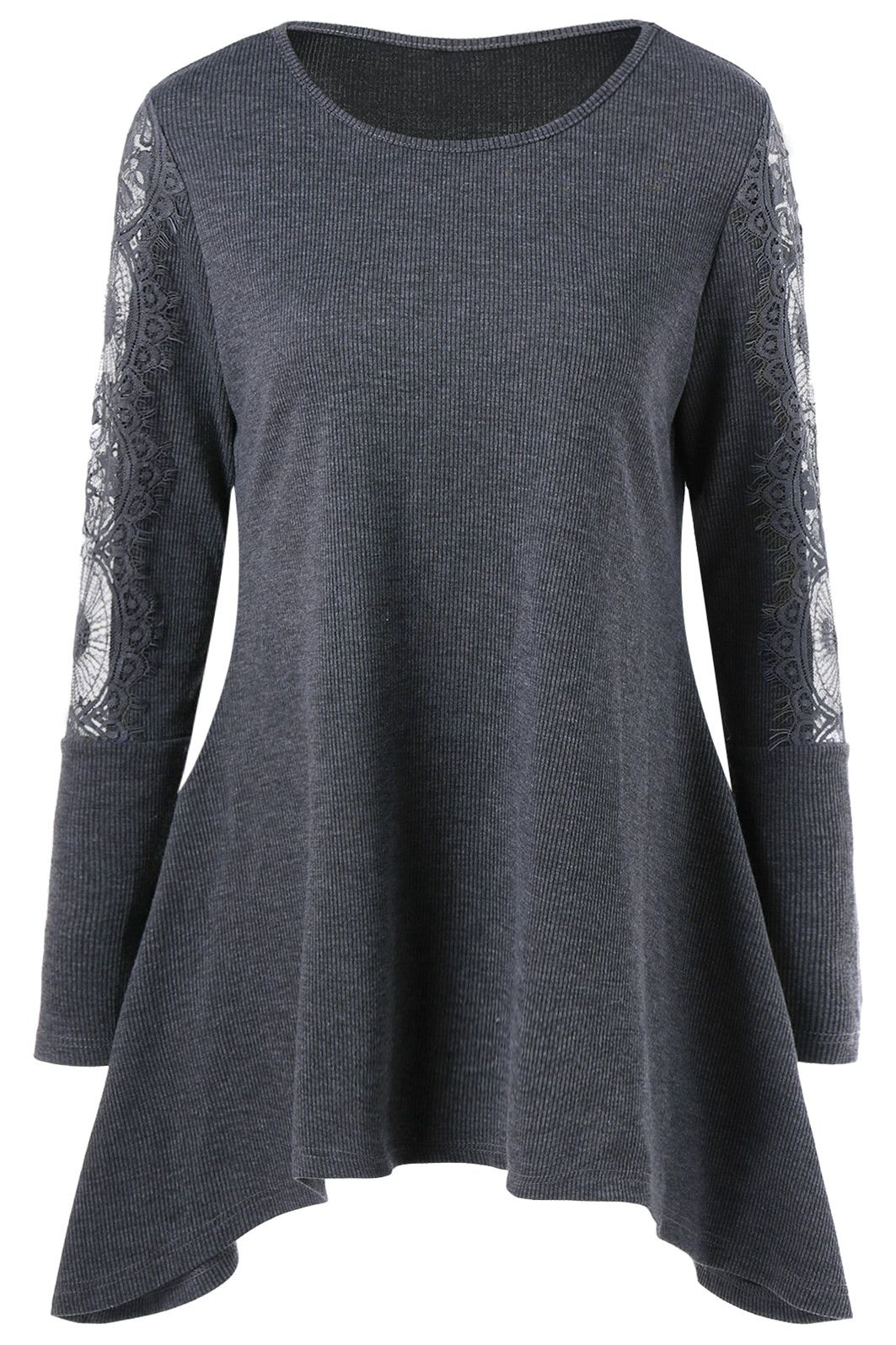 lace insert tunic knitwear long sleeve casual top