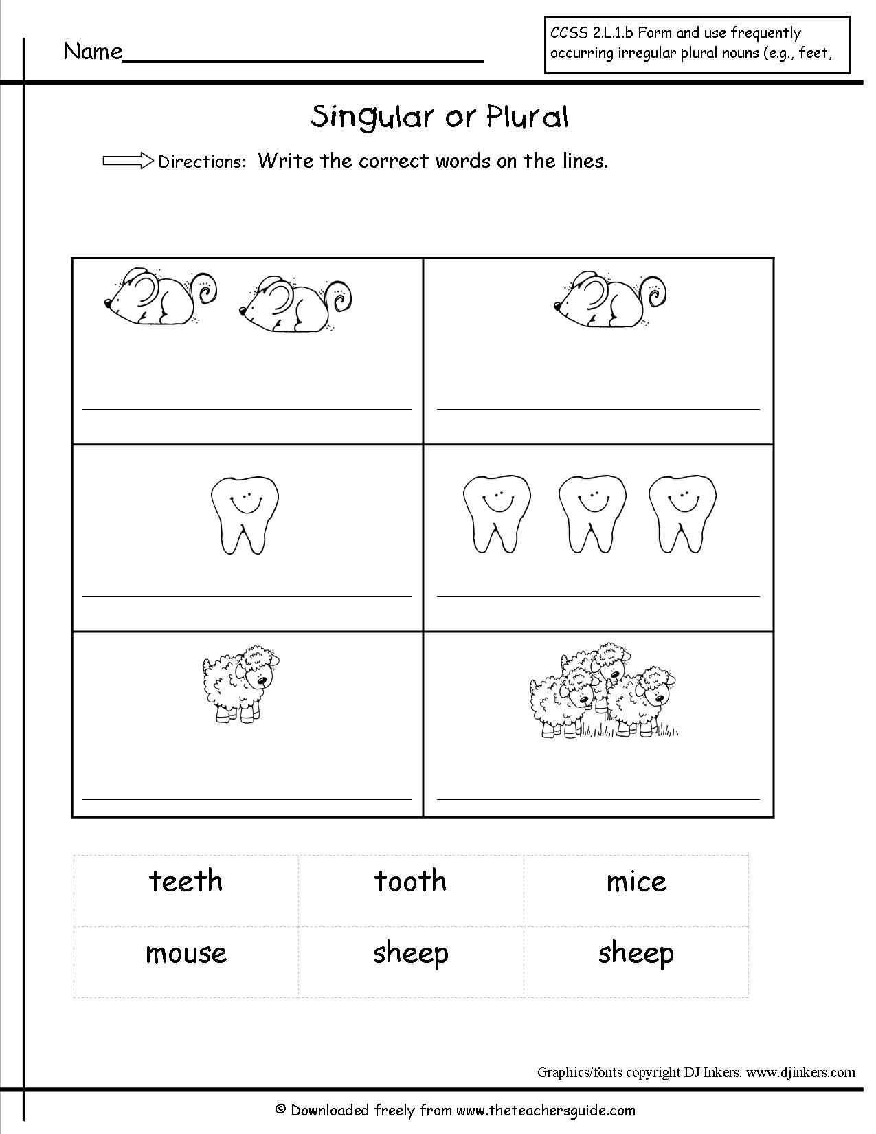Singular and Plural Nouns Worksheets from The Teacher's Guide   Plurals  worksheets [ 1650 x 1275 Pixel ]